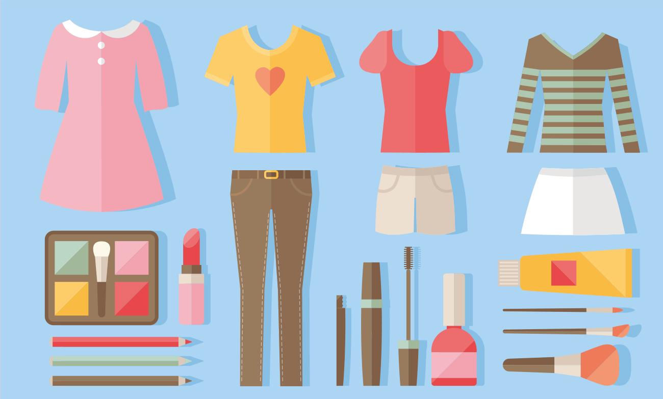 женская стильная одежда и косметика