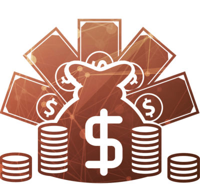 Мешок с купюрами и монетами