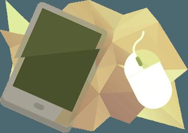 смартфон и компьютерная мышь