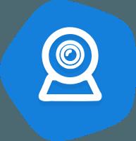 вебкамера на синем фоне